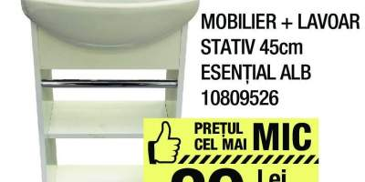 Mobilier + lavoar stativ Esential alb
