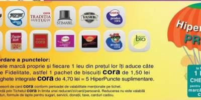 La fiecare 1 leu cheltuit pentru produsele marca proprie Cora, primesti un hiperPunct!