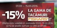 15% Reducere la gama de tacamuri Fiskars